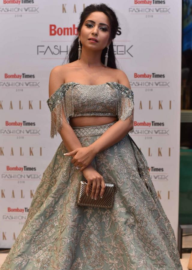 Vinny Arora in Kalki mint blue lehenga with matching off shoulder blouse