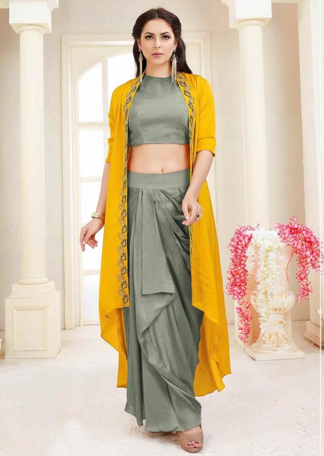 Vintage Pewter Grey Skirt Incotton Silk And Crop Top With Sun Yellow Jacket Online - Kalki Fashion