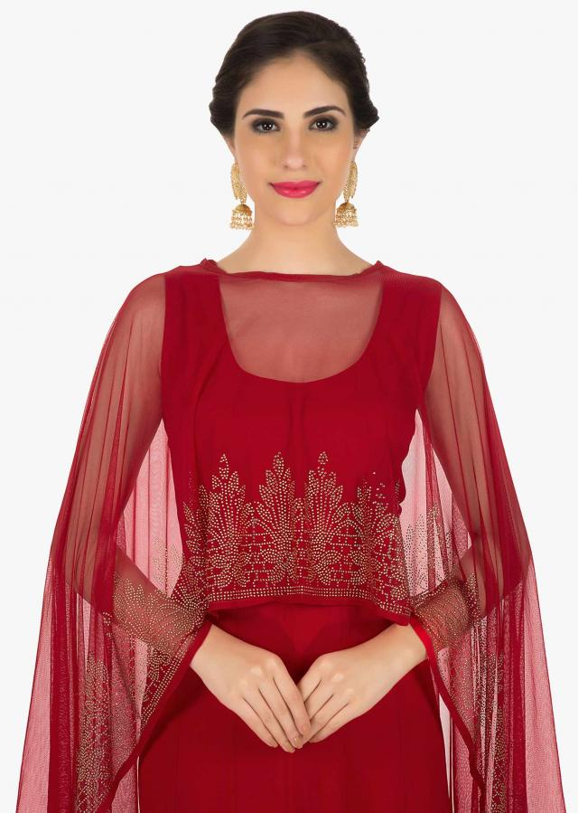 Red georgette dress with cape adorn in kundan embroidered work only on Kalki