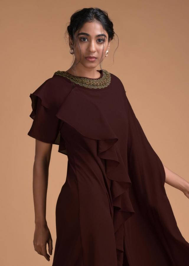 Walnut Brown Fancy Kaftan Tunic With Frill And Cowl Details Online - Kalki Fashion