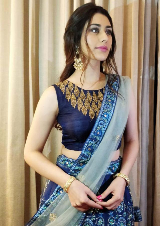 Warina Hussain  in kalki admiral blue raw silk lehenga set