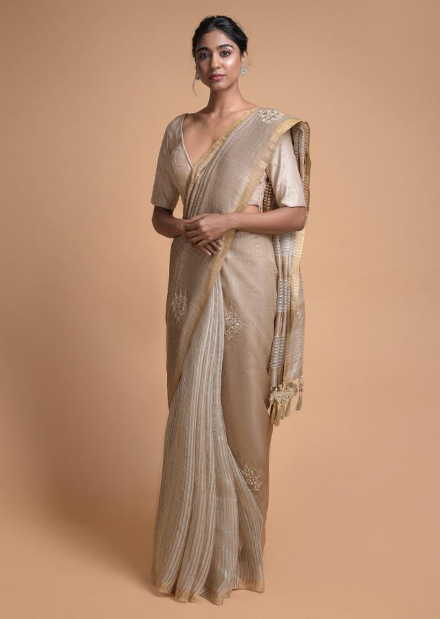 Wheat Beige Half And Half Saree In Tussar Silk With Striped Pattern And Gotta Embroidered Motifs Online - Kalki Fashion