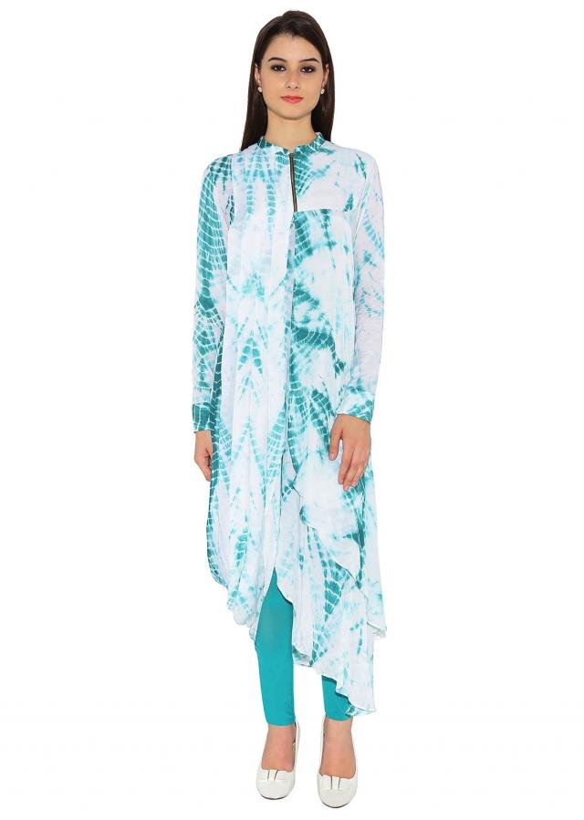 White & Green Cotton Silk Kurti With Abstract Printed And Zip Opening On Neck Only On Kalki