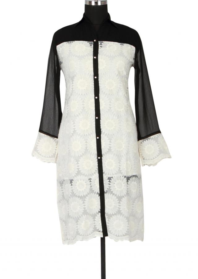 White and black tissue and georgette kurti embellished in thread work only on Kalki
