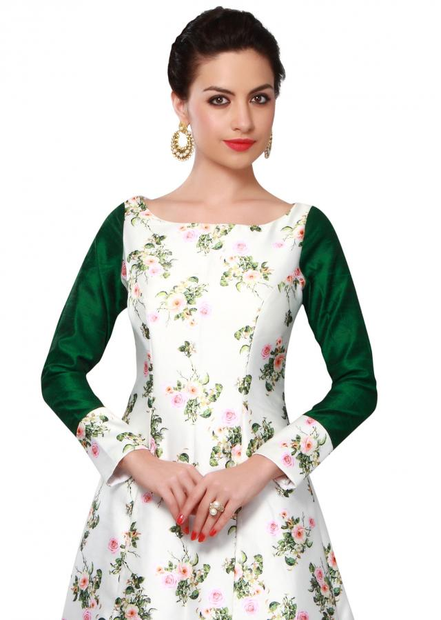 White and green silk dress adorn in floral print only on Kalki