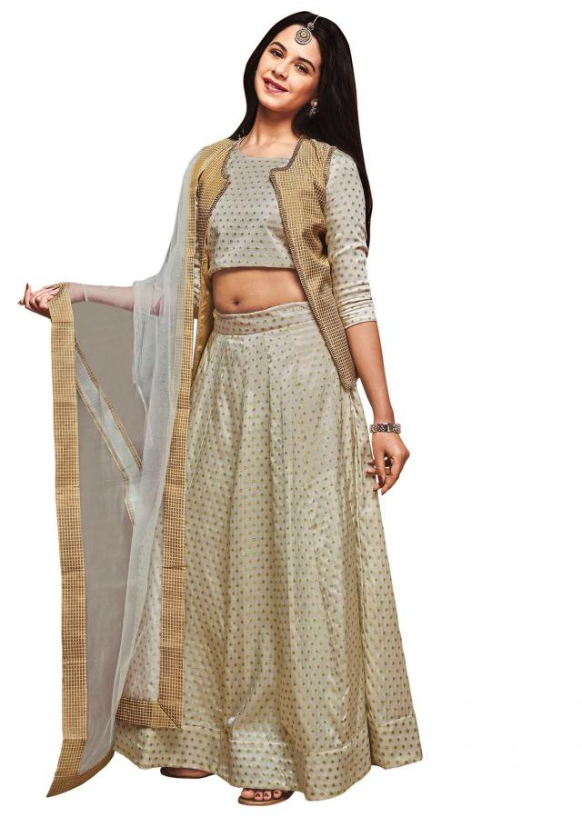 White and olive jacquard satin silk lehenga choli