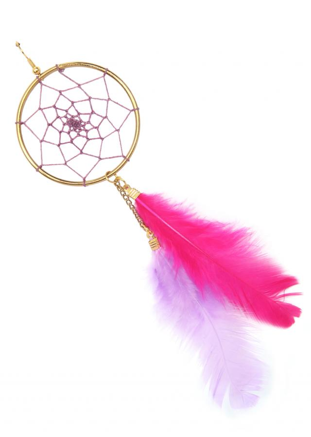 White and pink dream catcher earring only on Kalki