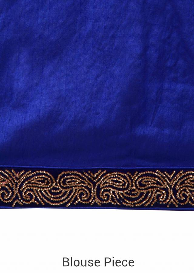 White and royal blue saree adorn in kundan border only on Kalki