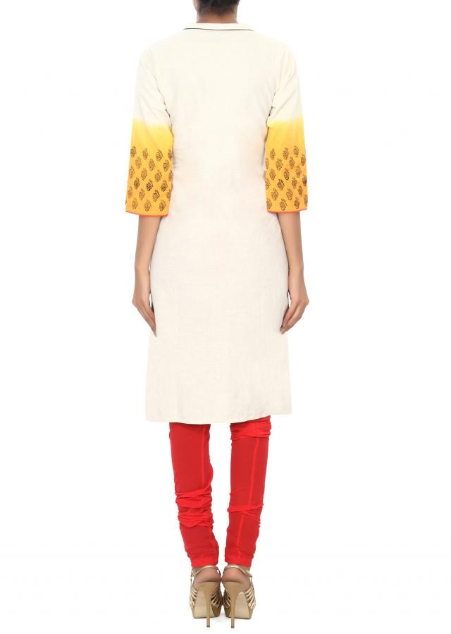 White and yellow kurti enhanced in resham embroidered butti only on Kalki