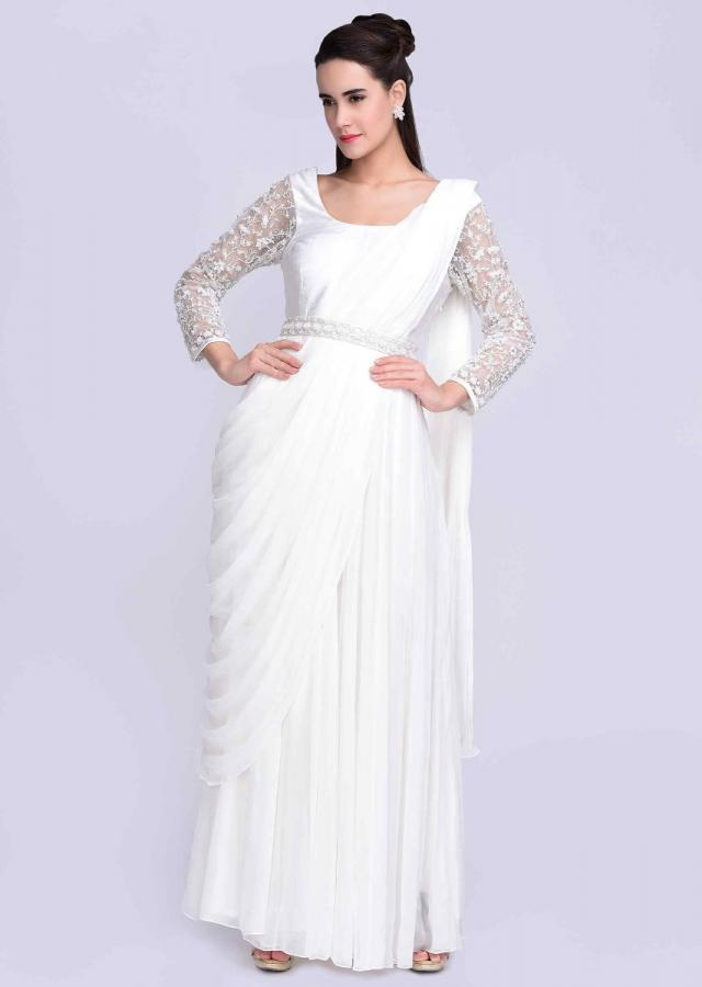 White Fancy Anarkali Gown With Pre Stitched Ready Draped Dupatta Online - Kalki Fashion