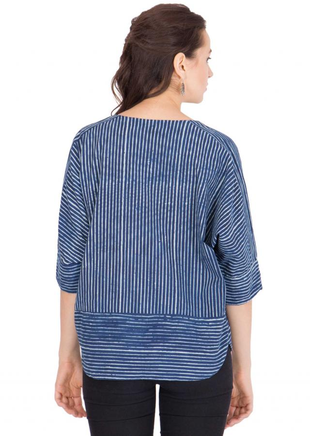 white hand block printed uneven stripes tunic