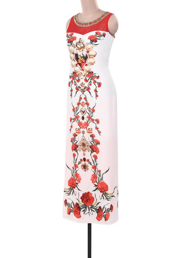 White kurti adorn in digital print and kundan embroidery only on Kalki