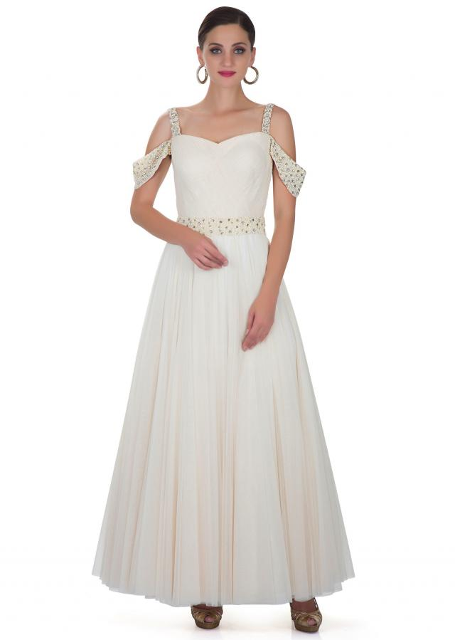 White Net Dress with Pleated Bodice and Pearl Embellishments Only on Kalki