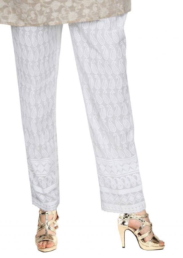 White pant features in resham embroidery only on Kalki