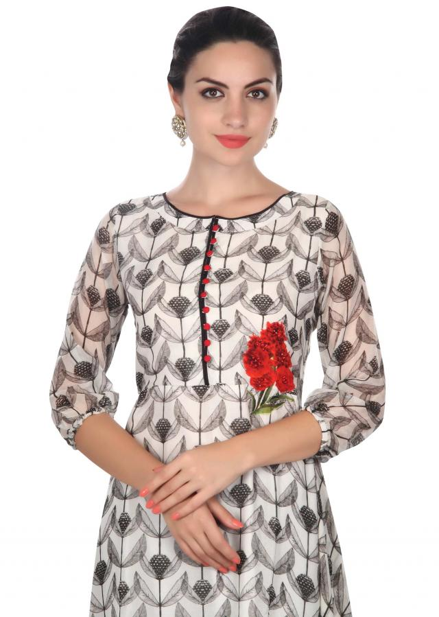 White printed suit in floral print and kundan only on Kalki