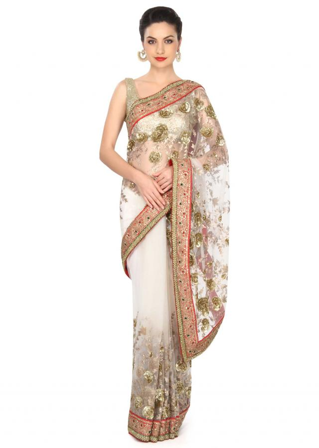 White saree in netwith floral embroidery only on Kalki