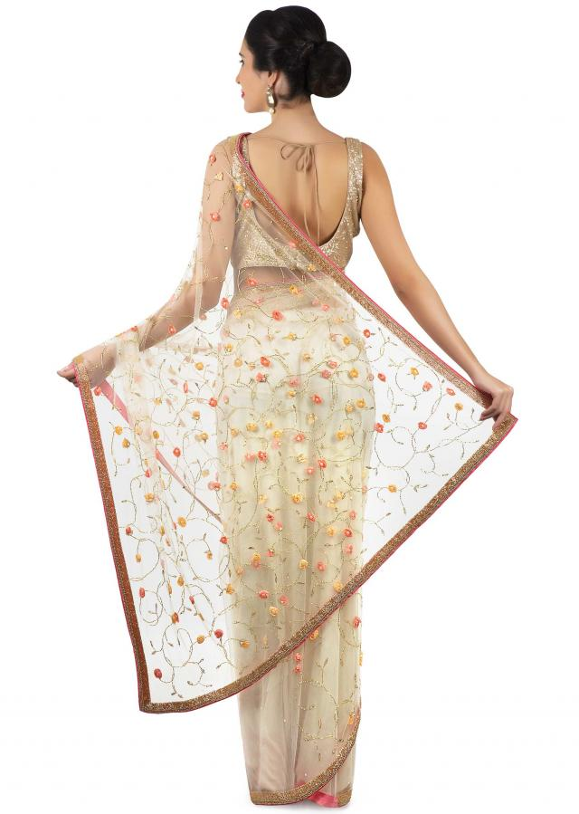 White saree in net with 3D flower embroidery only on Kalki