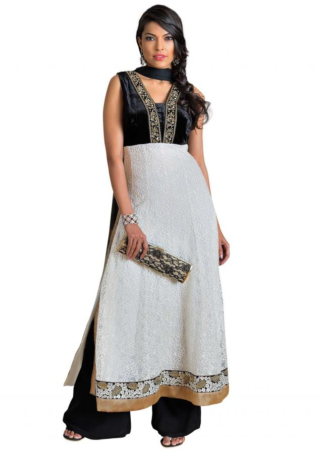 White straight fit suit featuring in zardosi embellished placket