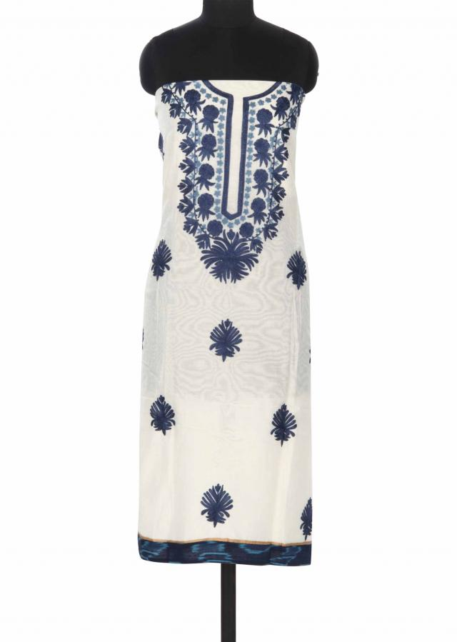 White unstitched suit embellished in floral embroidery only on Kalki