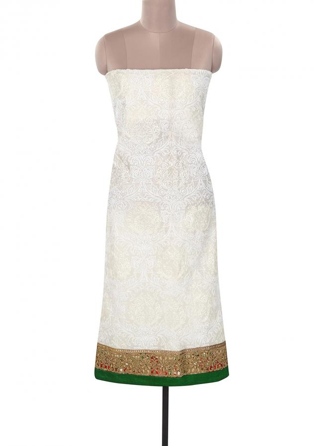 White unstitched suit embellished in thread embroidery only on Kalki