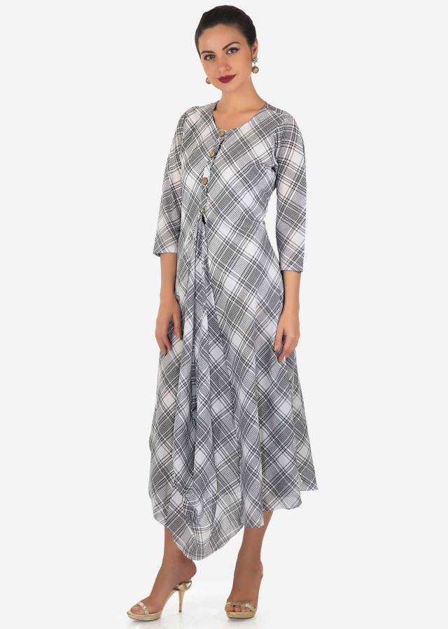 White and black kurti in cotton with checks print and fancy hem line only on Kalki