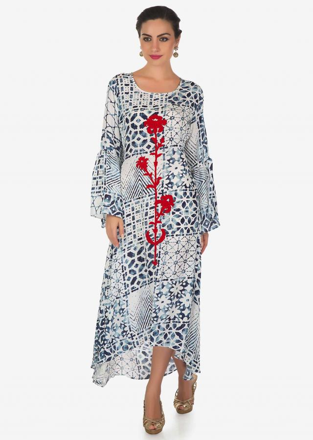 White and blue printed kurti with embossed resham work in floral motif only on Kalki