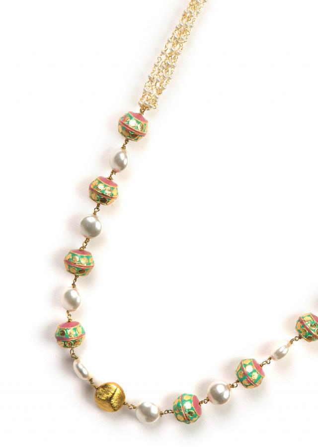 White and meenakari beaded necklace only on Kalki