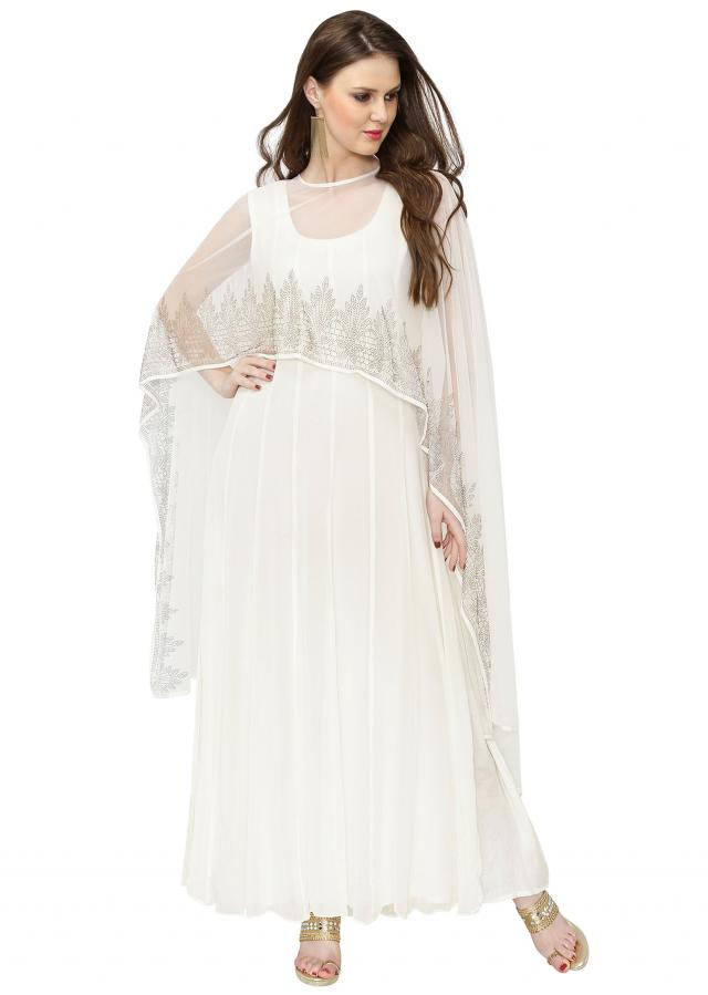 White Georgette Gown featuring Kundan Embellished Cape only on Kalki