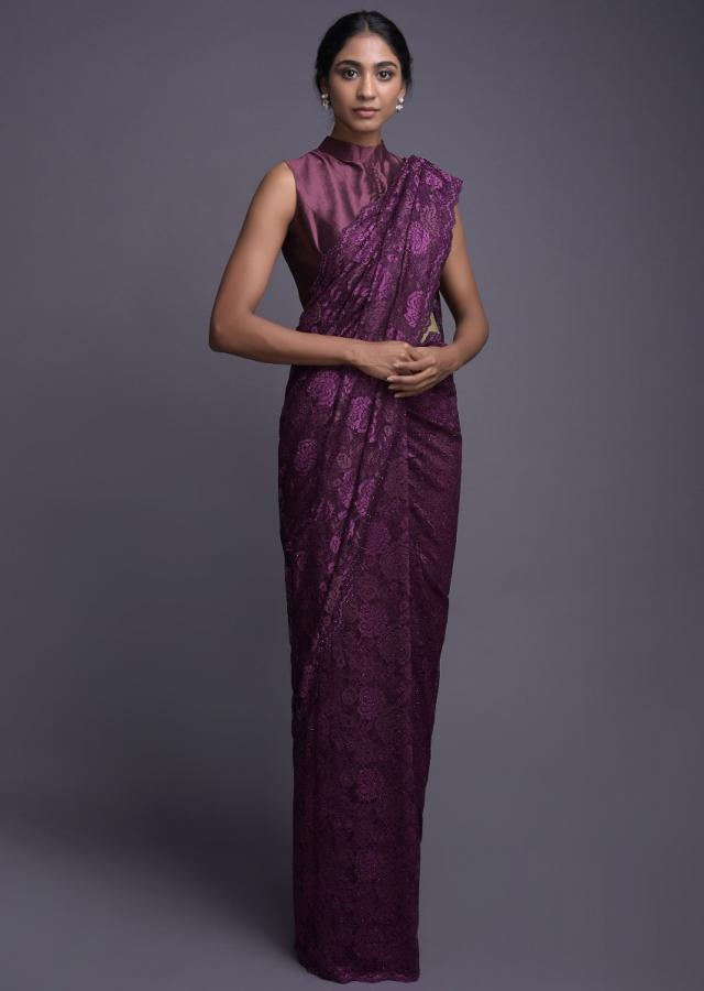 Wine Saree In Floral Lace Enhanced With Kundan Work Online - Kalki Fashion