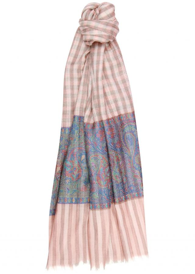 Winter shawl featuring in peach and brown viscose only on Kalki