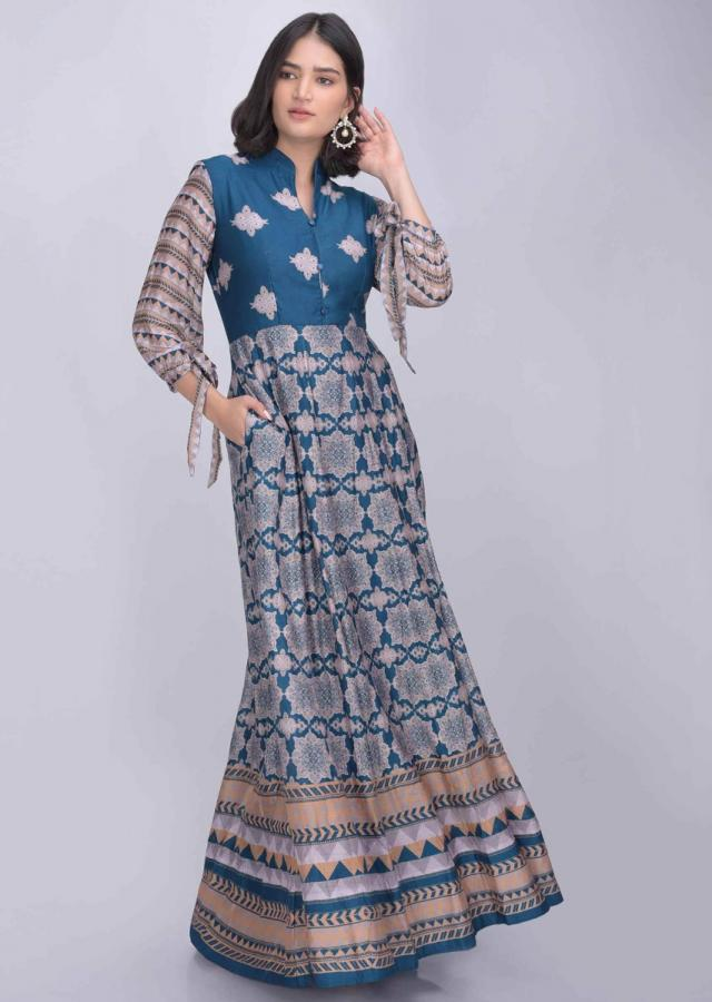 Yale blue cotton silk anarkali suit with tribal print only on Kalki