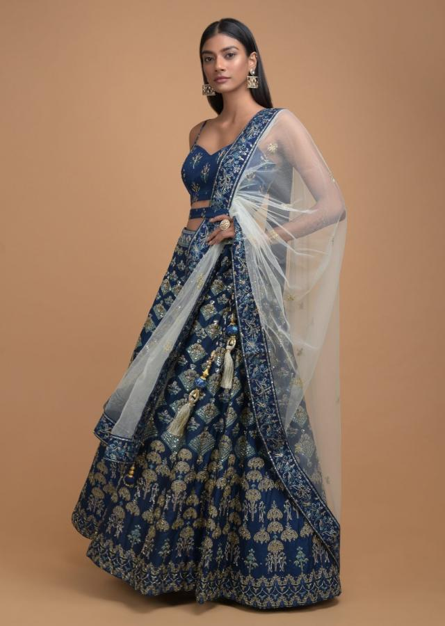 Yale Blue Lehenga With Foil Printed Buttis And Chandelier Motifs Online - Kalki Fashion