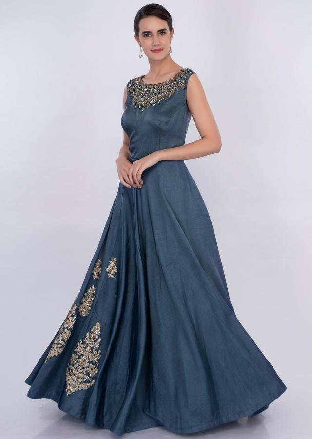 Yale blue silk gown with side embroidered butti only on Kalki