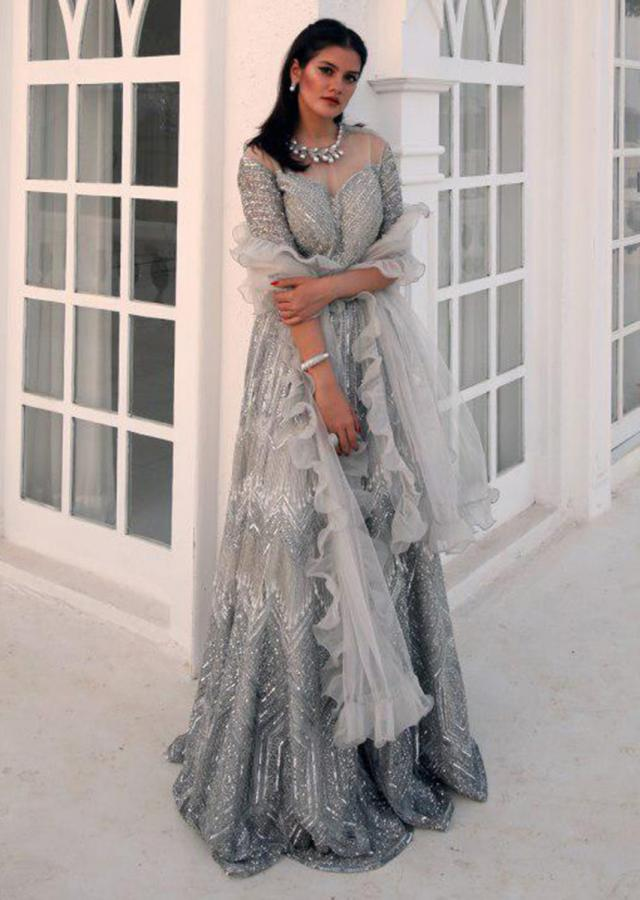 Yamini Rameshh in Kalki embroidered grey organza lehenga set with ruffle dupatta