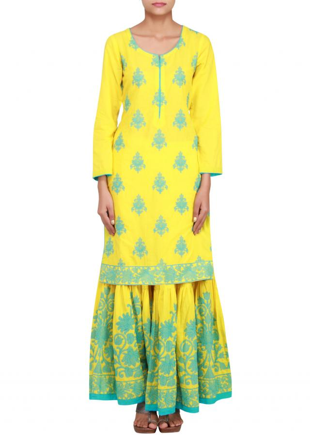 Yellow a-line suit in cotton embellished with thread work only on Kalki