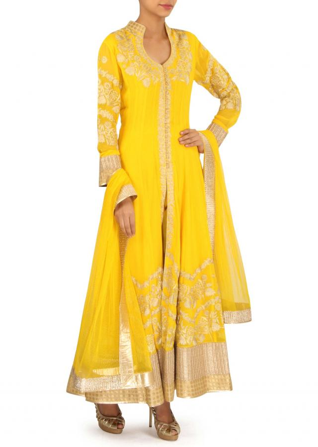 Yellow anarkali suit adorn in zari embroidery only on Kalki