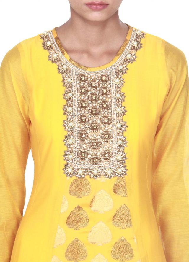 Yellow anarkali suit features with zardosi and pearl embellished placket only on Kalki