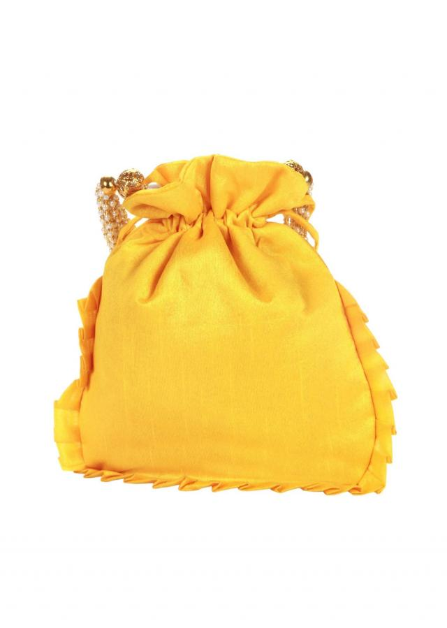 Yellow and Gold Dori peacock Embroidered Potli Bag only on Kalki