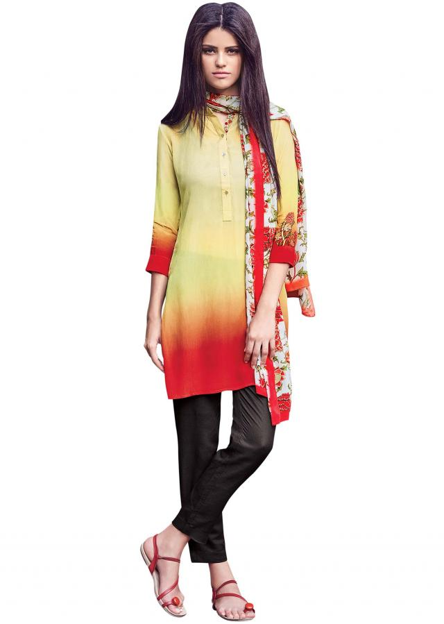 Yellow and red shaded kurti with floral printed scarf