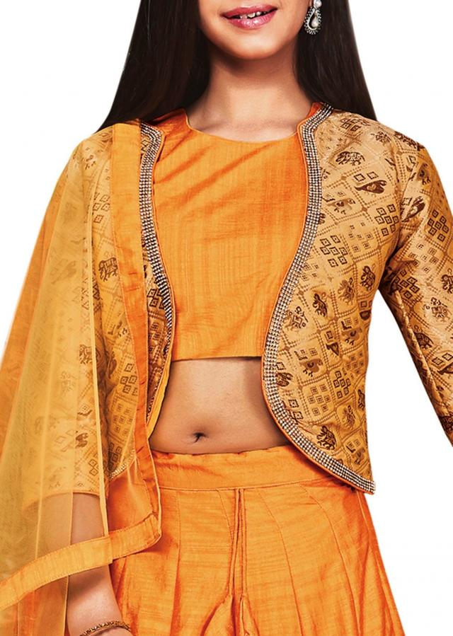 Yellow banarasi silk and jacquard lehenga choli
