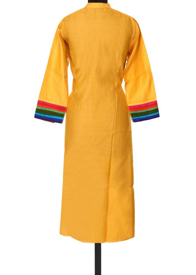 Yellow kurti with contrast yoke only on Kalki