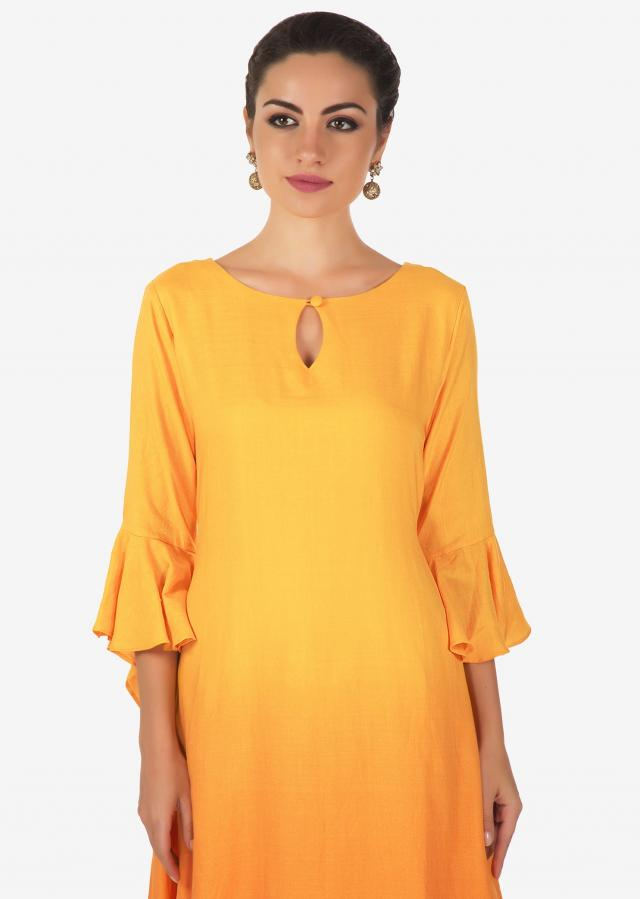 Yellow shaded and white double layer kurti with key hole neckline only on Kalki