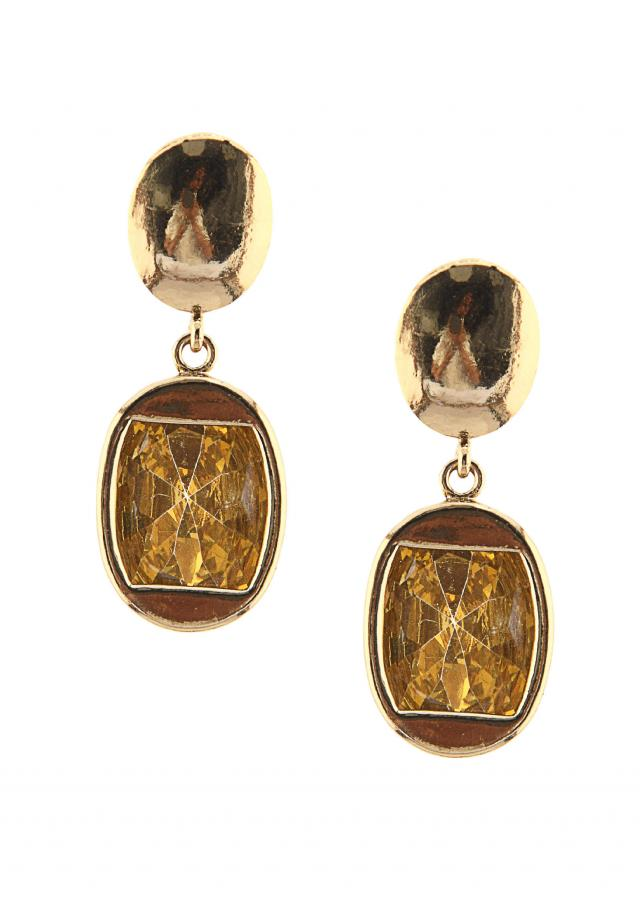 Yellow stone and gold mini dangler only on Kalki