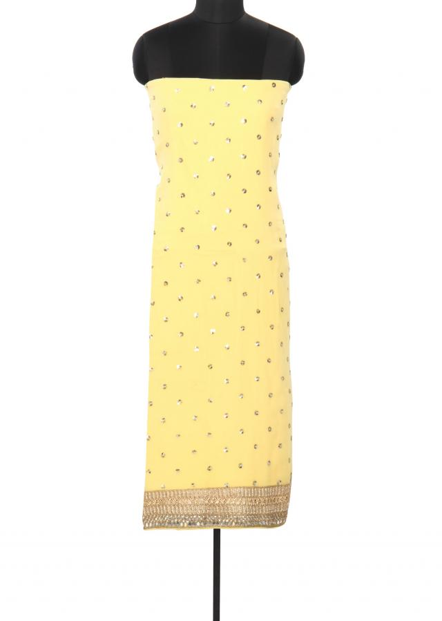 Yellow unstitched suit embellished in sequin embroidery only on Kalki