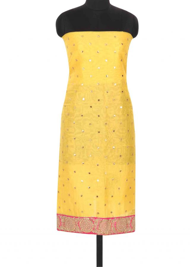Yellow unstitched suit enhanced in gotta patch work only on Kalki
