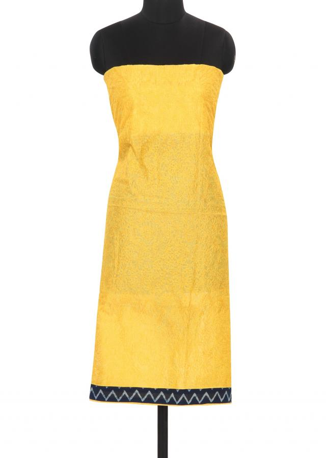 Yellow unstitched suit in thread embroidery only on Kalki