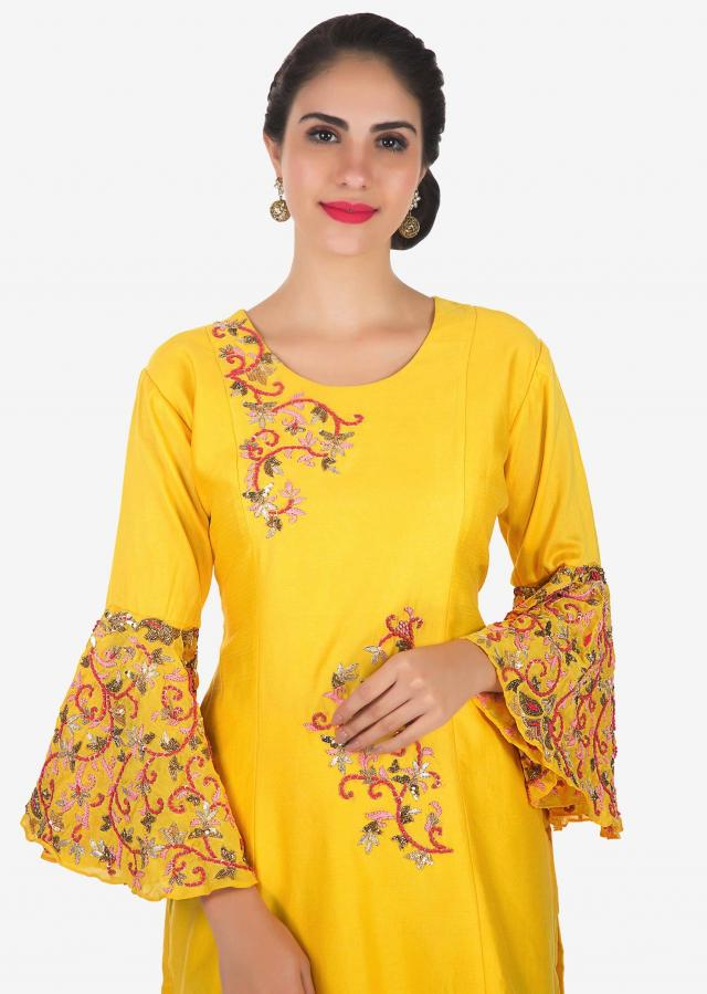 Yellow A line top with palazzo pant in sequin and french knot embroidery only on Kalki