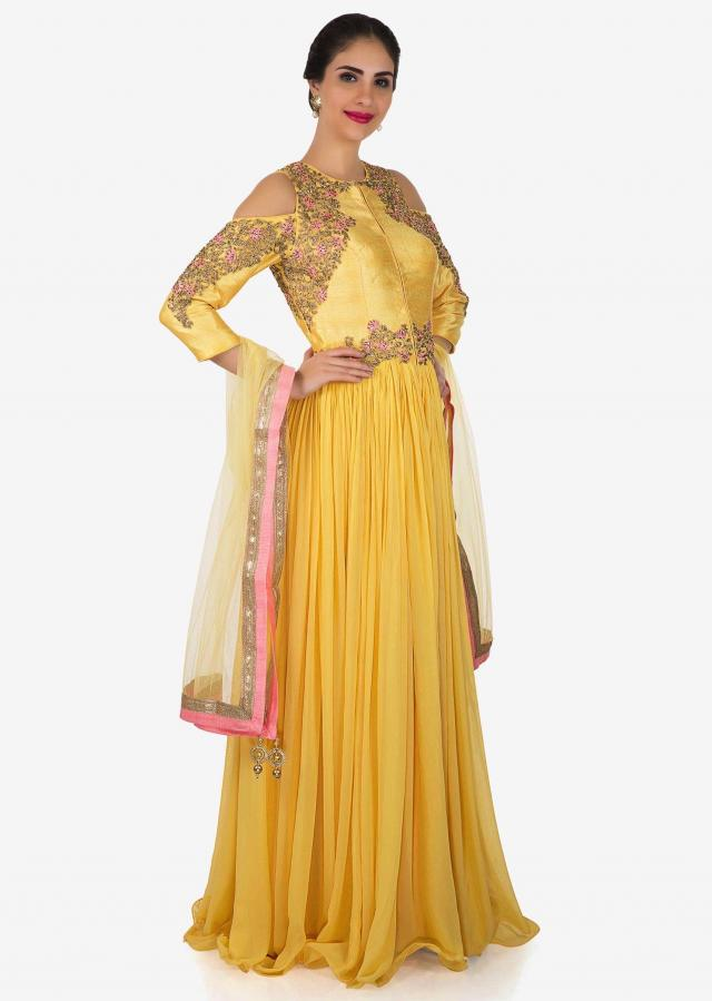 Yellow anarkali suit in georgette and raw silk with cold shoulder only on Kalki