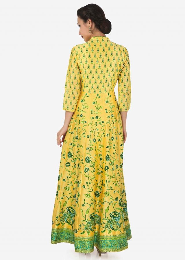 Yellow dress in cotton silk with green floral print only on Kalki