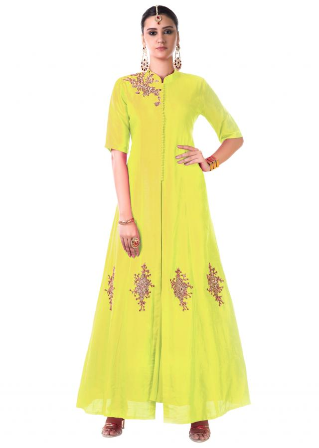 Yellow Hand Embroidered Jacket Style Anarkali Gown